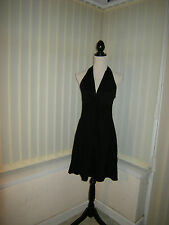 10 COOL BLACK VISCOSE MINI DRESS HALTER NECK STYLE STRETCH PARTY SUMMER HOLIDAY