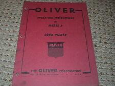 Oliver White Tractor Model 2 Corn Picker Operators Manual