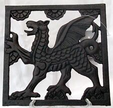 WELSH DRAGON design Cast Iron SQUARE TRIVET,  Cymru/ Wales