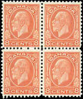Mint NH Canada 1932 F+ Scott #200 Block of 4 8c King George V Medallion Stamps
