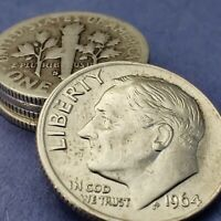 [Lot of 5] Roosevelt Dimes 1946-1964 90% Silver