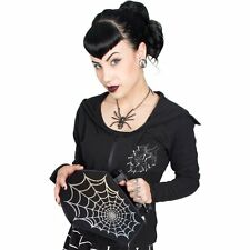 New KREEPSVILLE 666 Ladies Girl Black Spiderweb Foil Coffin Bag Goth