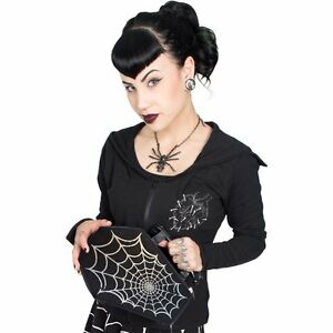 New Kreepsville 666 Women Girl Black Spiderweb Foil Coffin Bag Goth