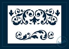 Floral Scroll Damask Swirls Reusable Stencil 10x15 cm Decoupage Furniture Craft