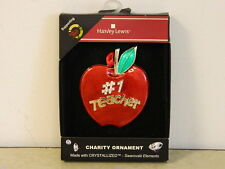 #1 Teacher Apple Christmas Ornament Harvey Lewis Swarovski Ornament New