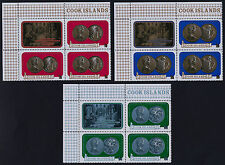 Cook Islands 339-45 TL Blocks MNH Coins on Stamps, Birds, Flowers, Fish