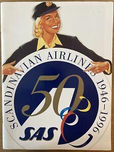 SAS SCANDINAVIAN AIRLINES 50 YEARS ANNIVERSARY BROCHURE CARAVELLE B747 DC8 DC10