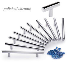 Polished Chrome Stainless Steel T Bar Kitchen Cabinet Door Handles Drawer Knobs