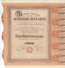 Auto-Taxis Société Anonyme – Genuss-Schein eines TAXI-Unternehmens – Paris, 1924