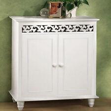 White Wooden Cupboard Cabinet Sideboard Freestanding Hallway 2 Doors Furniture