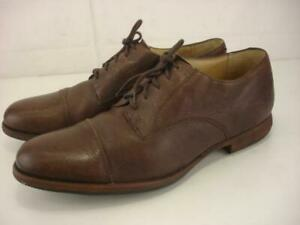 Mens 11 D M FRYE Everett Cap-Toe Oxford Shoes Brown Leather Dress Casual Lace-Up