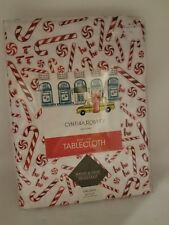 "NEW Cynthia Rowley Christmas Holiday Candy Cane Peppermint Tablecloth 60""x104"""