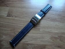 Mens 18mm LICO CINTURINI Blue  Sharkgrain Watch Strap,18mm S/S Deployment Buckle
