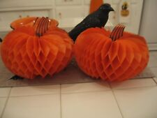 Cute Halloween Fall Pair Of Vintage Beistle Honeycomb Pumpkins Made In Usa