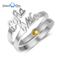 Custom Name Ring Double Adjustable Stainless Steel Two Names Gift Rings Jewelry Ebay