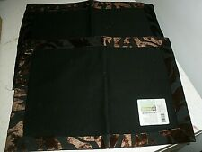 """New listing New Global Home Placemats Set of 2 Target Black with Brown Edging 14"""" x 19"""""""