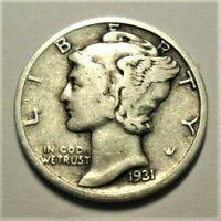 1931 P  Mercury Dime circulated 90% Silver  F Fine