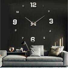Mirror Wall Clock Diy 3d Sticker Home Modern Large Decor Surface Arts Office New