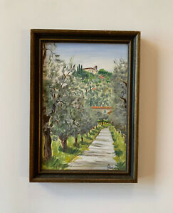 Oil Painting Italy Landscape European Agriturismo Italian By Zucconi Anna