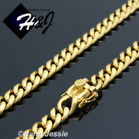 "8.5""MEN Stainless Steel 7x3mm Gold Miami Cuban Curb Link Chain Bracelet*B146"