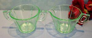 Green Depression Glass U.S. Glass Scroll Octagon Creamer and Sugar