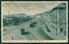 Genova Via Milano TRACCE UMIDO ABRASA cartolina QT8086