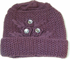 WOMENS LADIES THICK PURPLE KNITTED BEANIE HAT WITH FAKE PLASTIC DIAMONDS