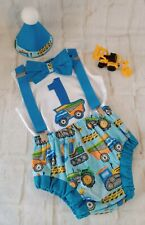 CAKE  SMASH OUTFIT  TRACTOR CONSTRUCTION BOY  KEEPSAKE 1ST  BIRTHDAY PARTY HAT