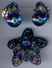Weiss Deslumbrante Vintage Azul Agua Verde RIVOLI Vidrio Diamante Imitacion pin