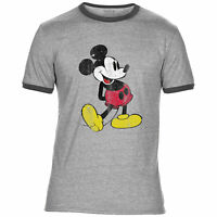Mens Mickey Mouse Outsiders Movie Ringer T Shirt Retro Vintage Distressed Film