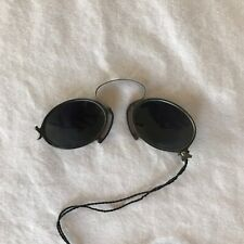 Antique PINCE NEZ FOLDING DARK GREY Sunglasses Child Size Spectacles Steampunk