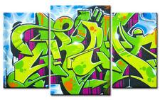 GRAFITTI  LEINWAND 3 BILDER GREEN STYLE M30384 GÜNSTIG AUF KEILRAHMEN