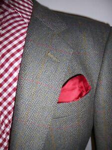 Mens DAKS Herringbone Tweed Check Blazer 44 Suit Jacket Country Sport Coat Green