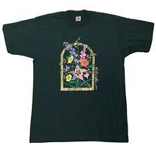 Vtg Alaska Flowers Shirt Sz Large Green Multicolor Floral Short Sleeve Tee