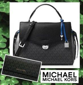 NWT MICHAEL KORS BRISTOL MED TH Satchel BAG & WALLEL Set In BLACK /PEWTER /BLUE