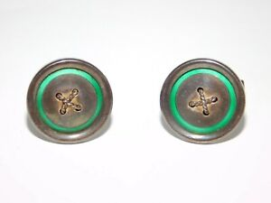 Vintage GUCCI Italy Sterling Silver Button Cufflinks w/ Green Accents