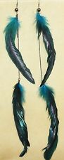 Long Blue Boho Gypsy Tribal Feather Gothic Steam Punk Hippie Bellydance Earrings