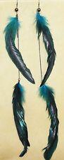 Long Blue Boho Gypsy Tribal Feather Gothic Steam Punk Hippie Bellydance Earrings