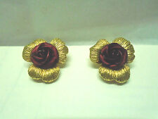 3-D BRUSHED GOLD LEAVES & LARGE RED ROSE CLIP ON EARRINGS FASHION ESTATE JEWELRY
