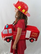 Boutique Fire Truck Helmet Fireman 3-D One Size Firefighter Costume Boy Girl NEW