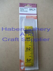 """BIRCH QUILT TAPE MEASURE/MEASURING*YELLOW EXTRA LARGE NUMBERS 300CM= 120""""214"""