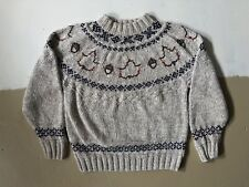 Vintage Woolrich Womens Sweater With Maple Leafs And Acorns Small Beige