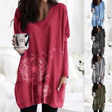 Langarm Tunika Longshirt Freizeit Pulloverkleid Damen Oberteile Hem Bluse Mode