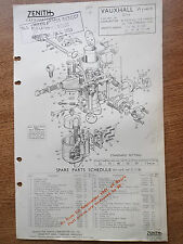 VAUXHALL WYVERN ZENITH CARBURETTERS 1952 PETROL LEAFLET TECHNICAL SPARE PARTS