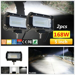 2Pcs 5inch 24LED 168W Flood Work Light Bar Car Off Road Boat Fog Driving 12V 24V