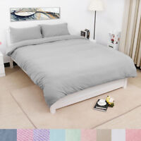 US Duvet Cover Sets with Zipper Closure & Pillow Case - Solid Microfiber Cotton