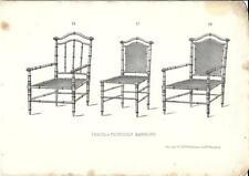 Stampa antica TRE SEDIE BAMBU' Mobili Arredamenti 1850 Antique Print FURNITURE