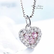 925 Sterling Silver Made With Swarovski Crystal Baby Pink Slim Heart Necklace