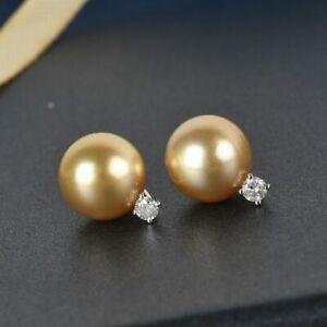 9k Yellow Gold Diamond Stud Earrings Jewellery Gold South Sea Pearl