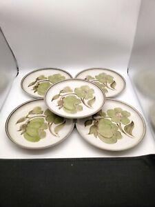 "Vintage Denby 5 x 10"" Dinner Plates - Hand Painted Troubadour Pattern. #648"